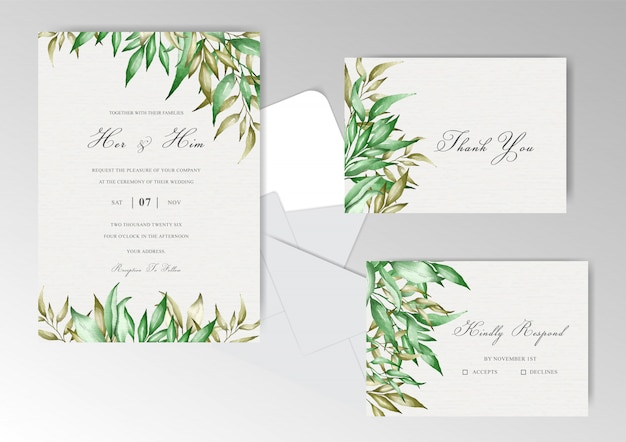 Cancelleria per invito a nozze con acquerello floreale e foglie