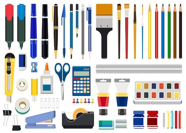 Cancelleria per ufficio e strumenti di arte isolati su sfondo bianco