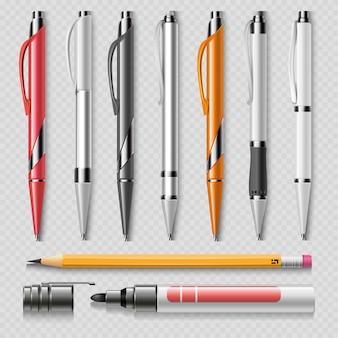 Cancelleria realistica dell'ufficio isolata su fondo trasparente - penne, matita ed indicatore realistici