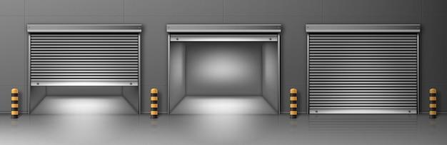Cancello con avvolgibile in metallo a parete grigia. illustrazione realistica di vettore del corridoio