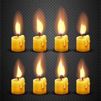 Candela con animazione di fuoco su sfondo trasparente