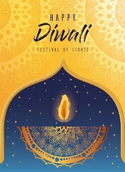 Candela diwali felice nel telaio su giallo con disegno di sfondo mandala, tema festival delle luci.