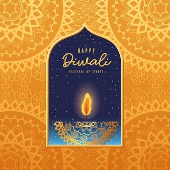 Candela felice diwali in cornice su arancio con disegno di sfondo mandala, tema festival delle luci.