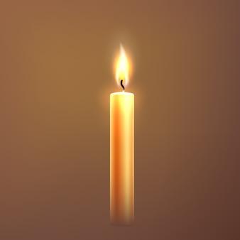 Candela realistica con simbolo festivo fiamma
