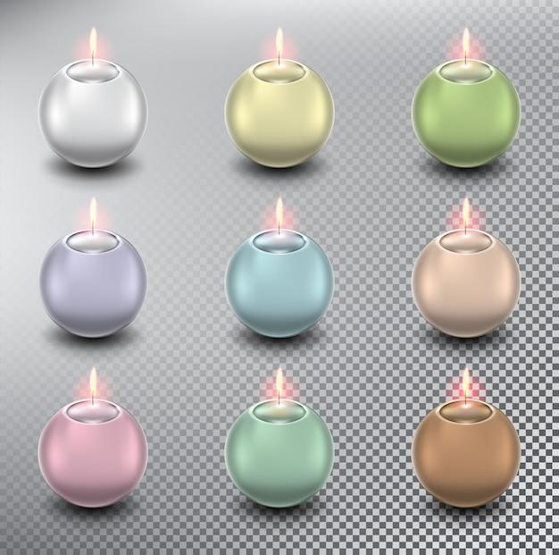 Candele a sfera. candele sferiche. isolato sullo sfondo bianco.