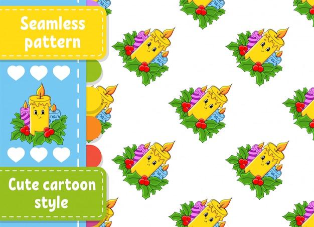Candele accese di natale decorate con foglie di agrifoglio. modello senza cuciture colorato stile cartone animato. tema natalizio.