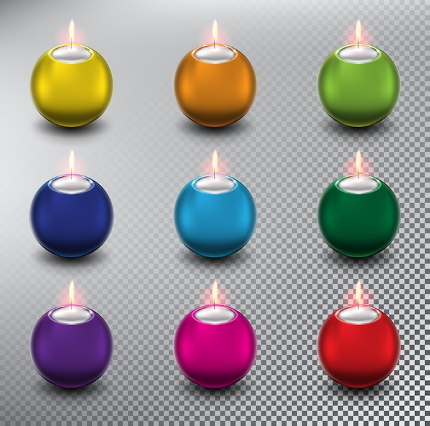 Candele colorate. candele sferiche. isolato