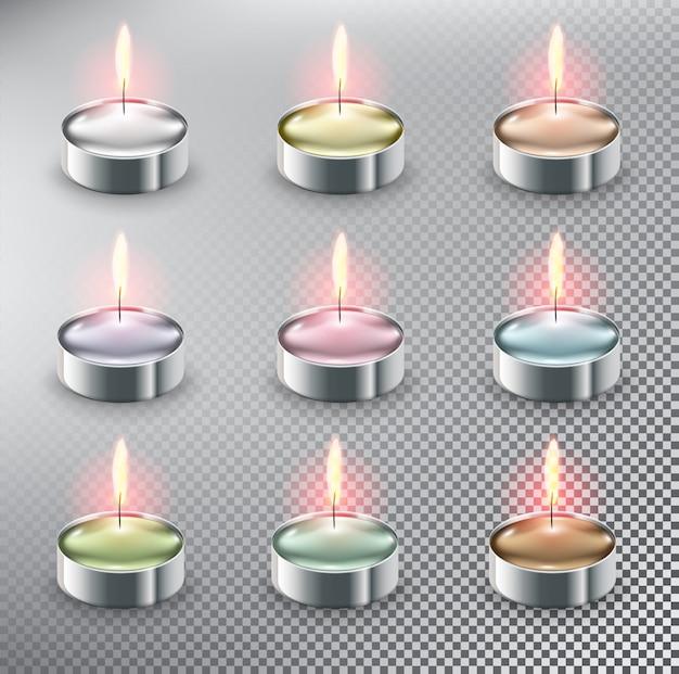 Candele da tè. candele tealight aromatiche. isolato sullo sfondo bianco.