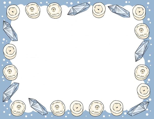 Candele e cristalli di quarzo ornano in stile fumetto scarabocchi vista dall'alto modello di lettera.