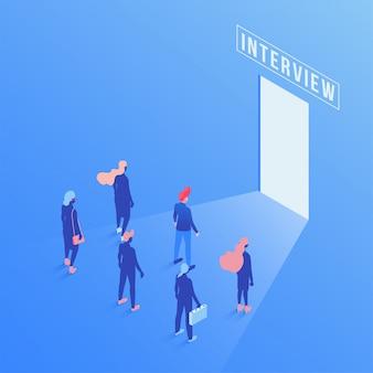 Candidati che attendono l'illustrazione isometrica di intervista di lavoro