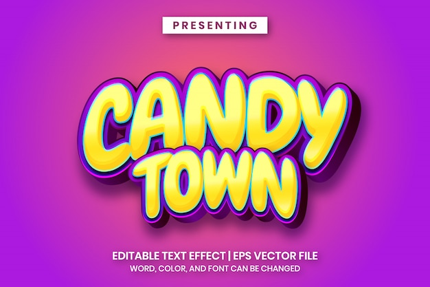 Candy town - testo modificabile in stile gioco di cartoni animati