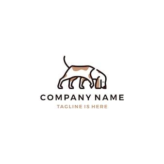 Cane a piedi cani odore vettore modello di logo