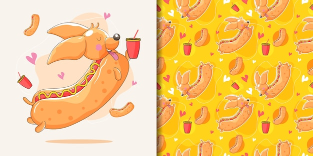 Cane bassotto disegnato a mano con hot dog personalizzato