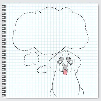 Cane bernard della razza del cane che si siede con i fumetti.