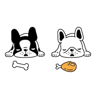 Cane bulldog francese cartoon dormire