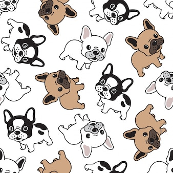 Cane bulldog francese seamless pattern cartoon