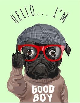 Cane cartone animato in bicchieri e maglione
