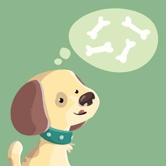 Cane che pensa alle ossa saporite