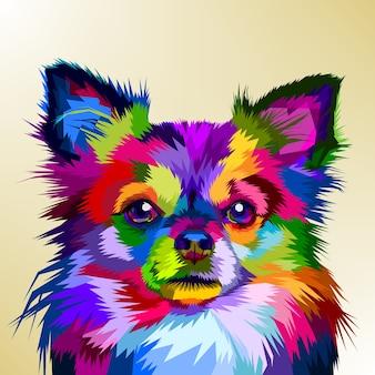 Cane colorato chihuahua in stile pop art