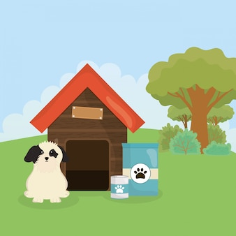 Cane con cibo in scatola casa e cura degli animali domestici sacco