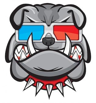 Cane con gli occhiali 3d