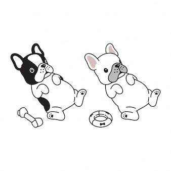 Cane cucciolo bulldog francese cartone animato
