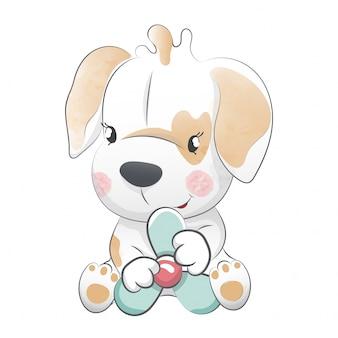 Cane cucciolo piccolo seduto
