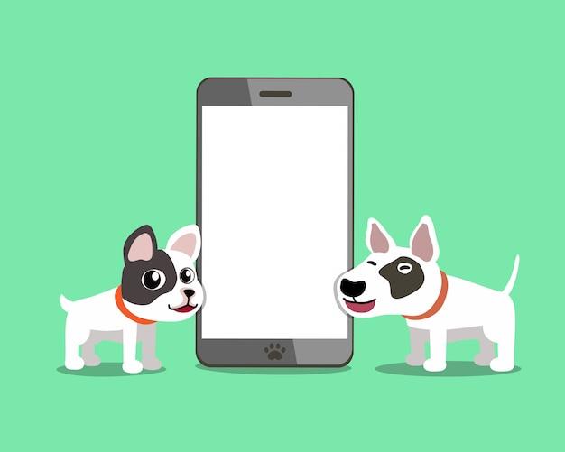 Cane del bulldog e di bull terrier del francese con lo smartphone