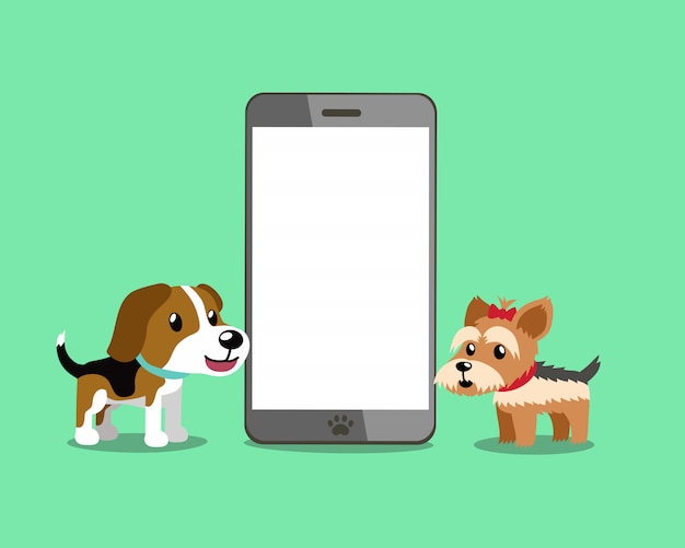 Cane del cane da lepre e cane dell'yorkshire terrier con lo smartphone