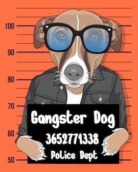 Cane del gangster, cane sveglio disegnato a mano con l'illustrazione degli occhiali da sole