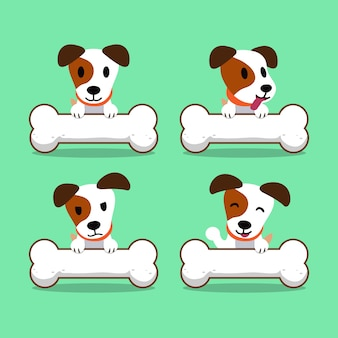 Cane di russell terrier del jack del personaggio dei cartoni animati con le grandi ossa