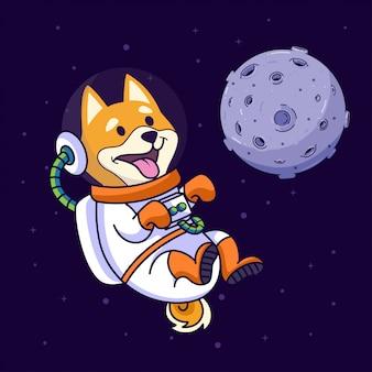Cane di shiba inu che vola nello spazio
