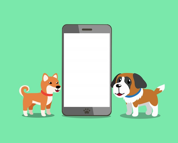 Cane di shiba inu e cane di saint bernard con lo smartphone