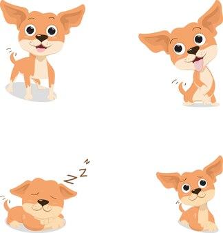 Cane divertente della chihuahua marrone del fumetto in varia posa