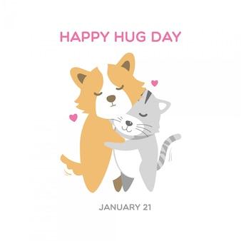Cane e gatto corgi carino