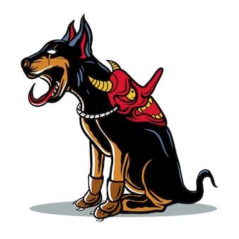 Cane giapponese con l'illustrazione della maschera del diavolo
