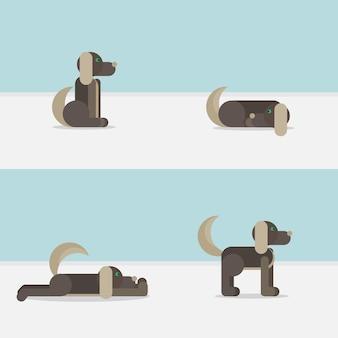 Cane in posizione seduta, in piedi, addormentato e sdraiato. simbolo veterinario icona di consegna.