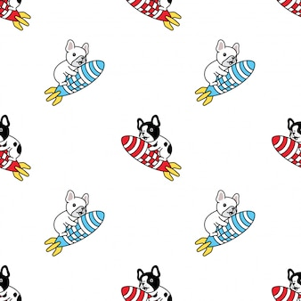 Cane seamless pattern bulldog francese cartoon razzo