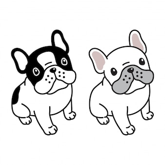 Cane seduto bulldog francese cartoon