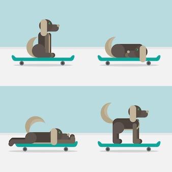 Cane seduto su uno skateboard. simbolo veterinario icona di consegna.