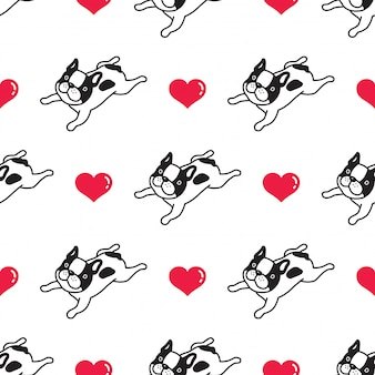 Cane senza cuciture cuore bulldog francese