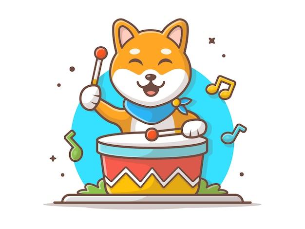 Cane sveglio che gioca tamburo con il bastone, la melodia e le note dell'illustrazione dell'icona di vettore di musica. bianco di concetto dell'icona di musica e dell'animale isolato