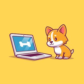 Cane sveglio con l'illustrazione dell'icona del fumetto del computer portatile. concetto dell'icona di tecnologia animale isolato. stile cartone animato piatto