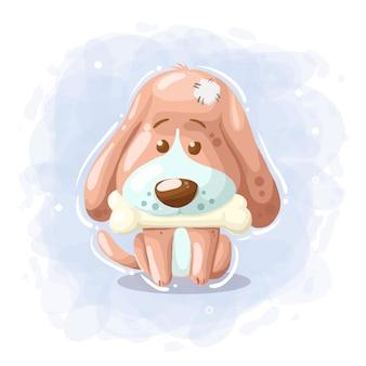 Cane sveglio del fumetto con il vettore dell'illustrazione dell'osso