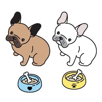 Cane vettore bulldog francese cucciolo osso ciotola cartone animato
