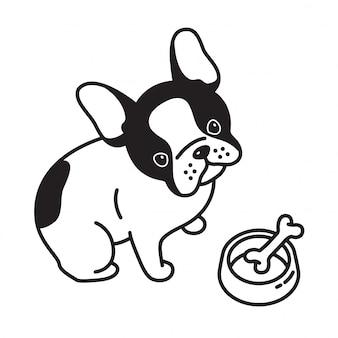 Cane vettore bulldog francese osso ciotola cucciolo cartoon