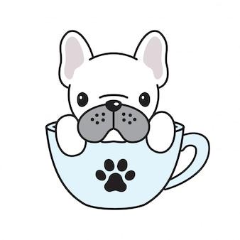 Cane vettore bulldog francese tazza di caffè zampa cartone animato