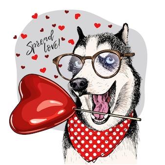 Cane vettoriale biglietto di auguri di san valentino.