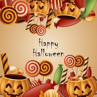 Canestro felice delle zucche della carta di halloween con la caramella