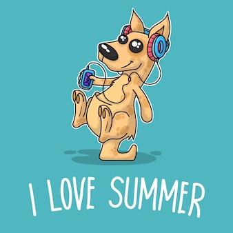 Canguro che ascolta musica e dice che amo l'estate